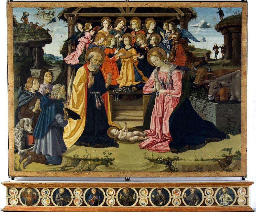 Bartolomeo Caporali (Perugia 1420 ca. -1503 -05) Adorazione dei pastori 0lio su tavola, cm 162,5 x 218,8 x 6