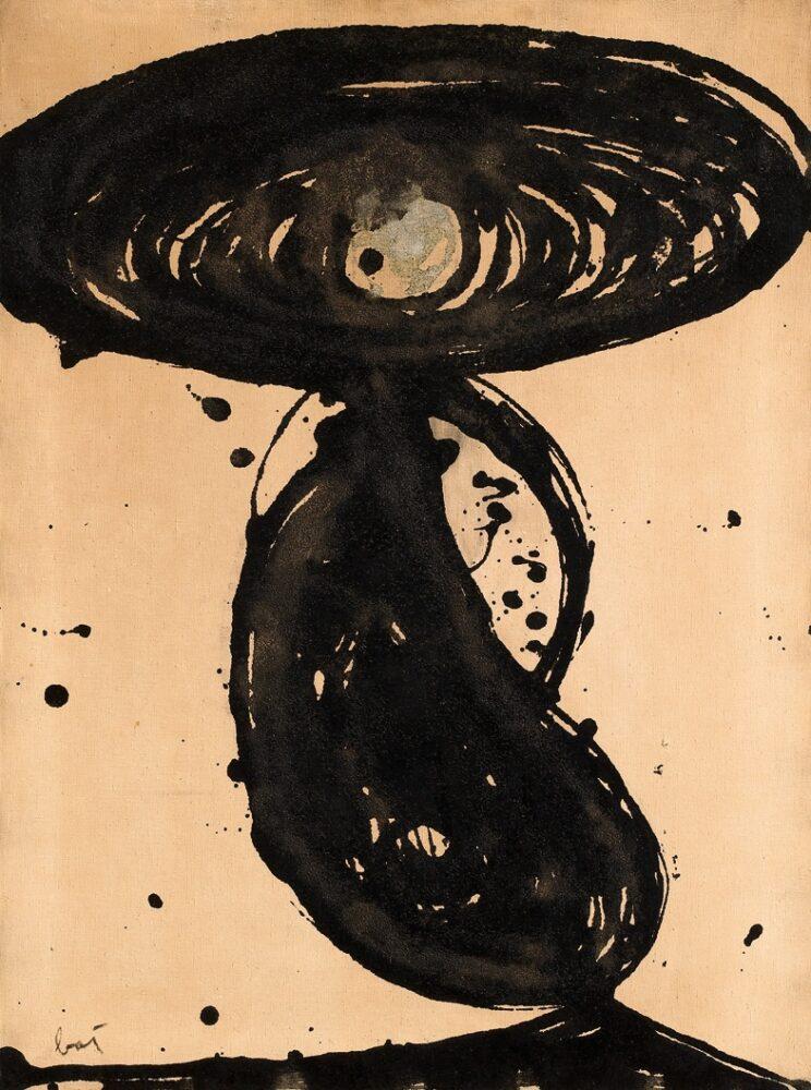 Enrico Baj Peinture nucléaire (Dedicato ad André Kuhn) 1952 oil on canvas 80x60cm Courtesy Mazzoleni London Torino