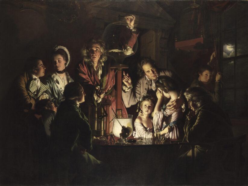 Joseph Wright of Derby (Derby 1934 – 1797) Esperimento su un uccello in una pompa pneumatica 1768 olio su tela The National Gallery. Londra
