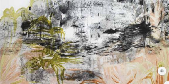 Greta Pllana, More points of view-Uncertain future, 2019, tecnica mista su tela, 160x136cm