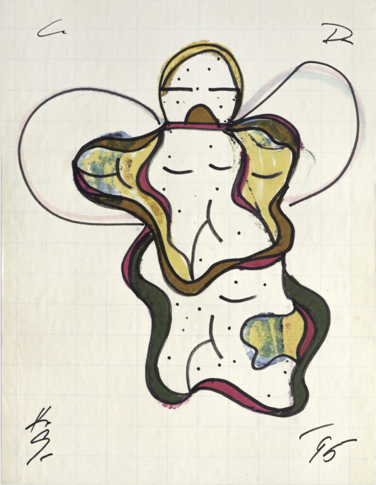 """Cat Doucet Drawing, XI, 1995, marker on graph paper, 16"""" x 12"""""""