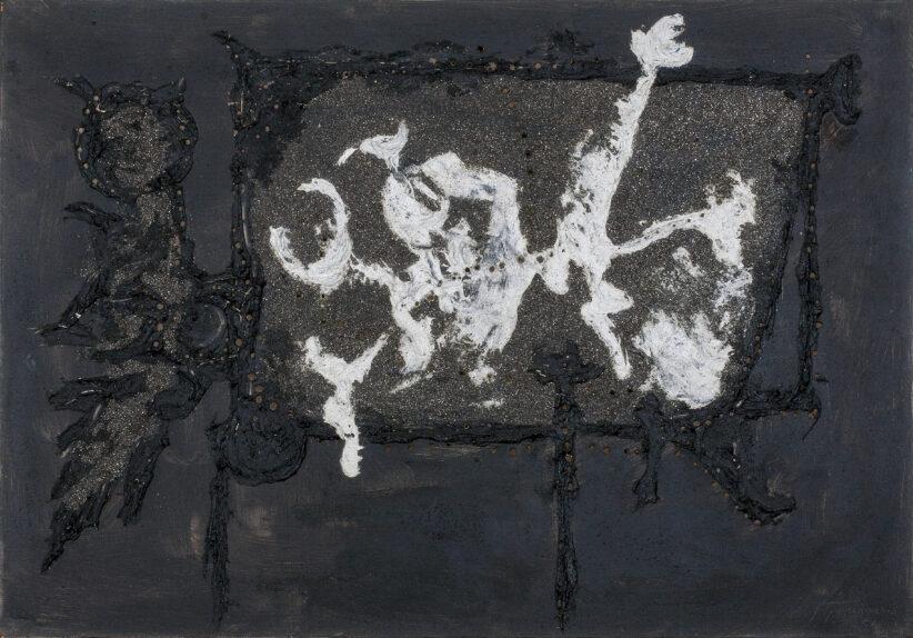 Lucio Fontana Concetto spaziale (Barocco) 1956 oil mixed media and glitter on canvas Courtesy Mazzoleni London Torino