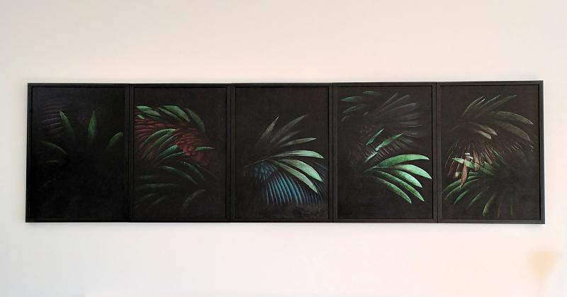 Marco Ercoli, Notturno, polittico, olio su tela, cm 20x250, courtesy Nicoletta Provenzano