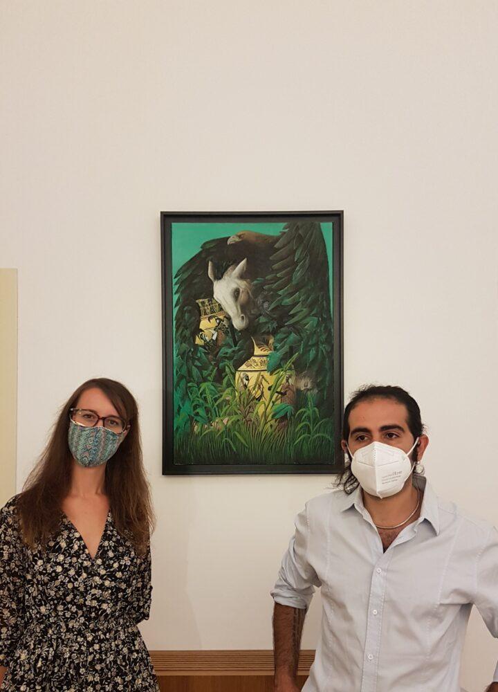 Marco Ercoli e la curatrice Giorgia Basili, Art Hotel Villa Fiorella, ottobre 2020