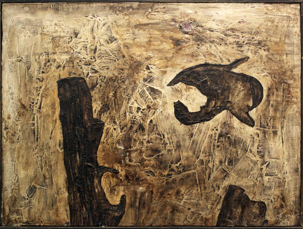 Piero Manzoni Untitled 1957 oil and tar on canvas 50x65cm Courtesy Mazzoleni London Torino
