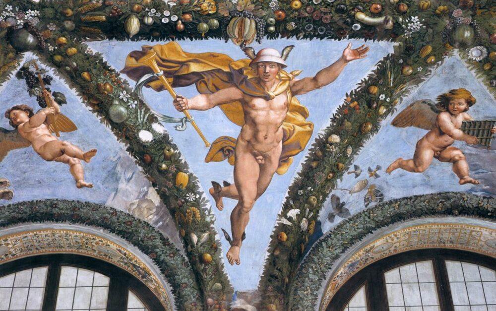 Raffaello e aiuti (Giulio Romano e Giovanni da Udine) Pennacchio con Mercurio. Roma Villa Farnesina, Loggia di Psiche