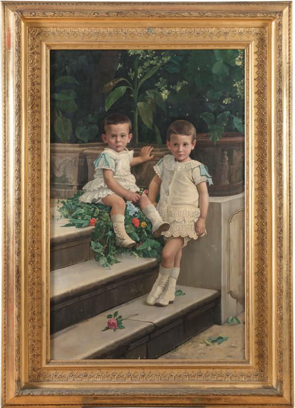 lotto 273 - Ritratto di due bambini in ghettine bianche, Giuseppe De Nigris, Olio su tela, cm. 130 x 82. Firmato e datato 1888, in basso a destra. Stima 1.500-2.000 euro