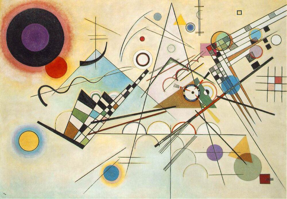 Kandinsky Composition 8 (Komposition 8) July 1923 Oil on canvas 140.3 × 200.7 cm Solomon R. Guggenheim Museum, New York, Solomon R. Guggenheim Founding Collection, By gift 37.262 © Vassily Kandinsky, VEGAP, Bilbao, 2020