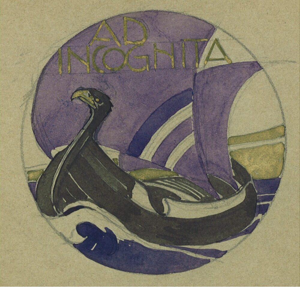 Vittorio Grassi, Ad Incognita, 1907, matita, inchiostro, tempera e oro su carta camoscio