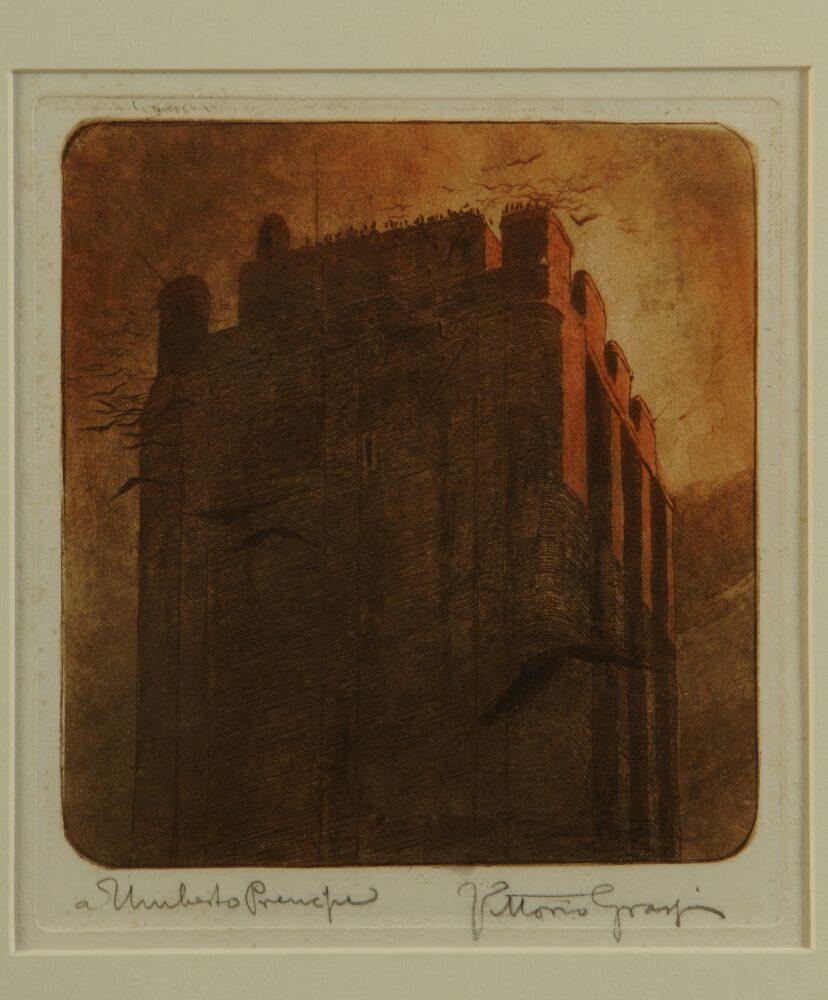 Vittorio Grassi, Torre di Nerone,1907, acquaforte e acquatinta