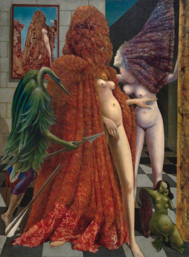 Photo: Max Ernst La vestizione della sposa (La Toilette de la mariée), 1940. Olio su tela, 129,6 x 96,3 cm. Collezione Peggy Guggenheim, Venezia (Fondazione Solomon R. Guggenheim, New York). © Max Ernst, by SIAE 2020.