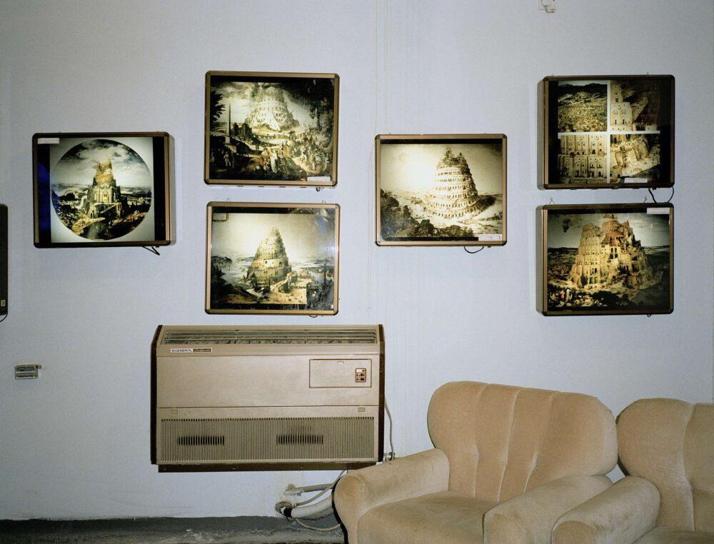 Armin Linke Volvo Studio Milano Museum, drawings of the Tower of Babel Babylon Iraq, © Armin Linke, 2002
