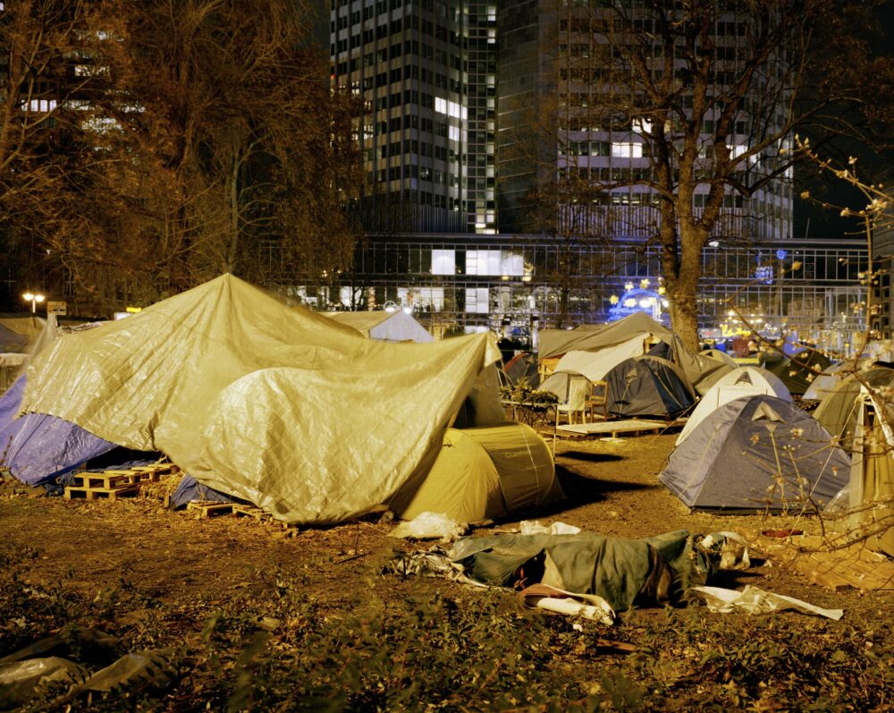 Armin Linke Volvo Studio Milano Occupy Frankfurt, camp in front of the ECB, Frankfurt am Main, Germany, © Armin Linke, 2011