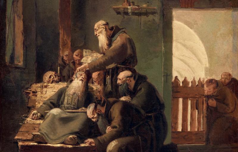 """Giovanni Battista Tiepolo """"Morte di un monaco cappuccino"""" (dettaglio). Olio su tela 56 x 42 cm. Stima: 400.000 € – 450.000 €. Aggiudicato a 500.000 euro"""