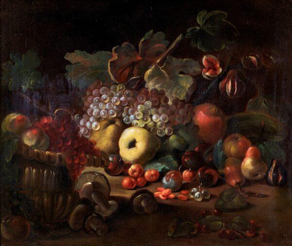 Natura morta di frutta e funghi. Stima 3.000-4.000 euro