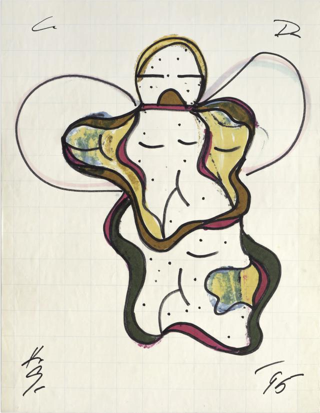 Keith Sonnier, Cat Doucet Drawing XI, Cat Doucet Series, 1995. Evidenziatore su carta millimetrata, 40,5x31 cm. Courtesy Keith Sonnier Studio e Galleria Fumagalli
