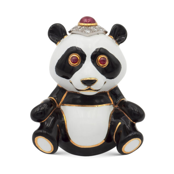 "Lotto 60 - David Webb, spilla ""Panda"" in oro giallo 18kt e platino. Stima 4.000-6.000 euro"