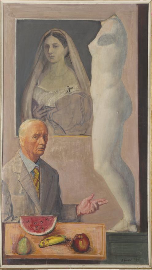 Achille Funi, Il ferrarese-Ritratto con antichi, 1962, tempera su masonite. Roma Accademia Nazionale di San Luca