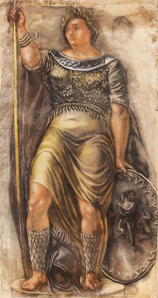 Alberto Ziveri - La Dea Roma, 1940 ca., pastello su carta, cm 377 x 200
