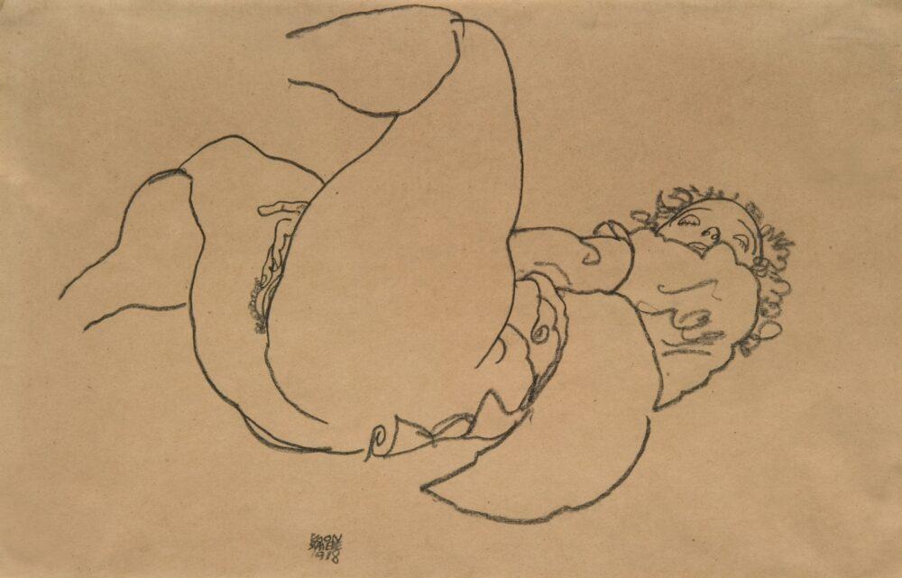Egon Schiele, Reclining female nude with raised legs, 1918, galleria W&K (Austria, USA)