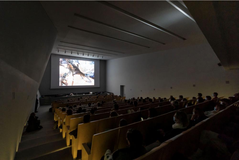 View of Cinemapocalissi 2020, curated by Il Colorificio at Teatrino di Palazzo Grassi, Venice - Auditorium view- Courtesy Cinemapocalissi al Teatrino di Palazzo Grassi. Ph Matteo De Fina © Palazzo Grassi