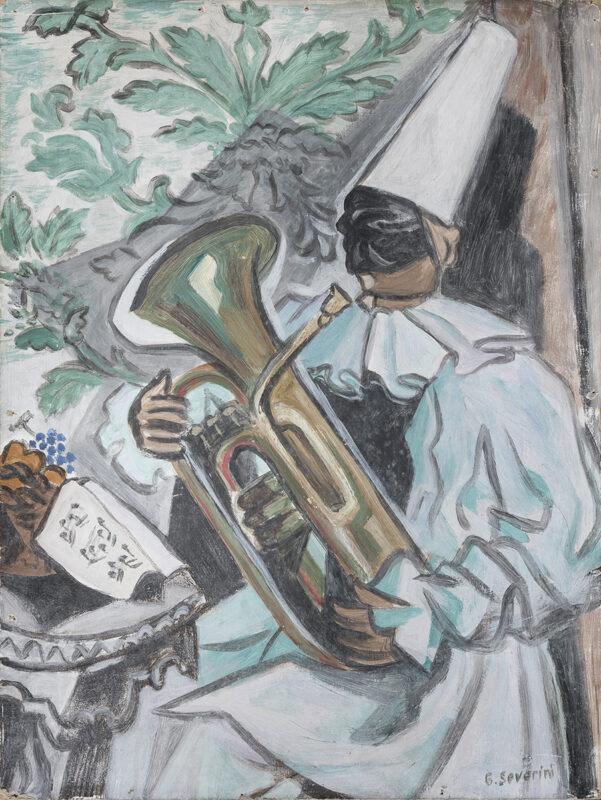 Lotto 118 - Gino Severini, Pulcinella con la tuba, 1942 . Tempera su cartoncino, cm. 40 x 30. Firma in basso a destra. Al retro riporta la scritta autografa dell'artista, che nomina l'opera 'Pulcinella napoletano'. Stima 12.000-18.000 euro