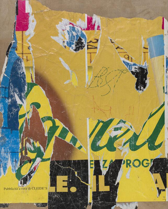 Lotto 120 - Mimmo Rotella, Programma giallo, 1995. Decollage su tela, cm. 108 x 86. Firma, data e titolo al retro. Stima 6.000-8.000 euro