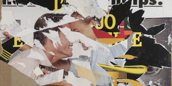 Lotto 128 - Mimmo Rotella, Two lovers, 2002. Decollage su tela, cm. 87 x 127, firma in basso a destra. Stima 7.000-9.000 euro