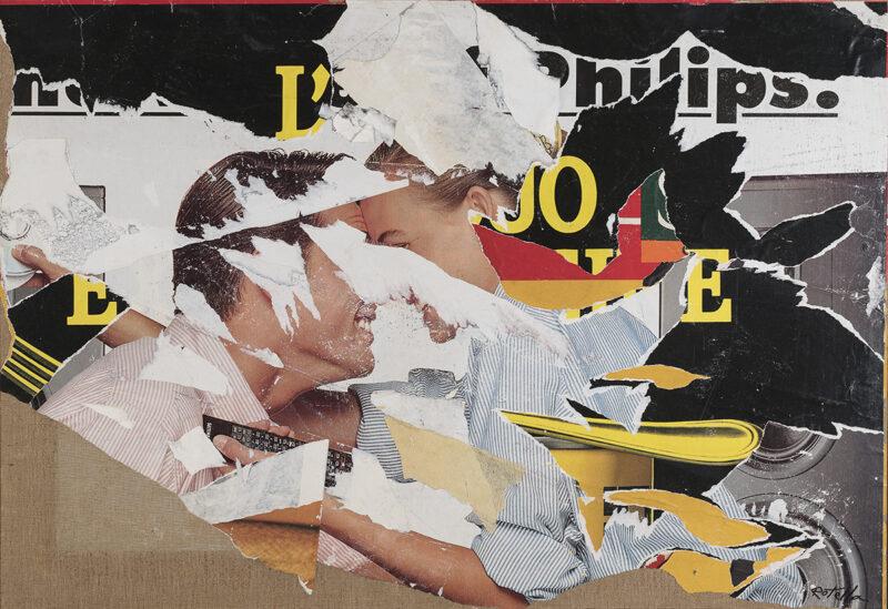 Lotto 128 - Mimmo Rotella, Two lovers, 2002. Decollage su tela, cm. 87 x 127, firma in basso a destra. Stima 7.000-9.000 euro