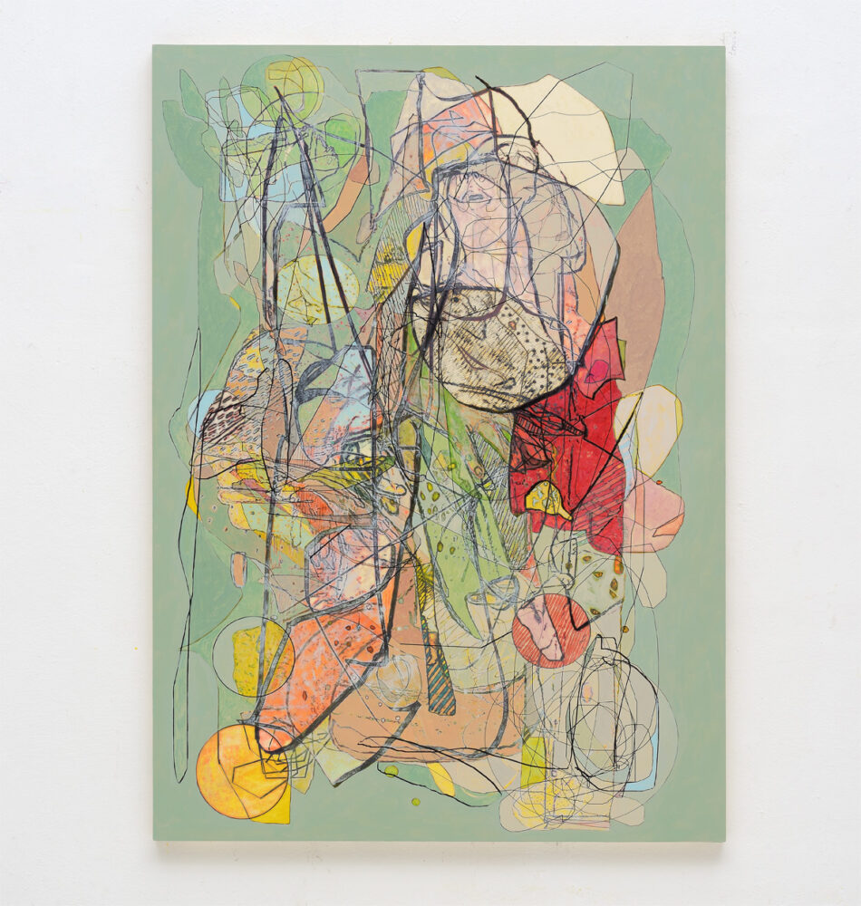 Luigi Carboni, RIDISEGNARE, 2020, acrylic and oil on wooden panel, cm 160x114
