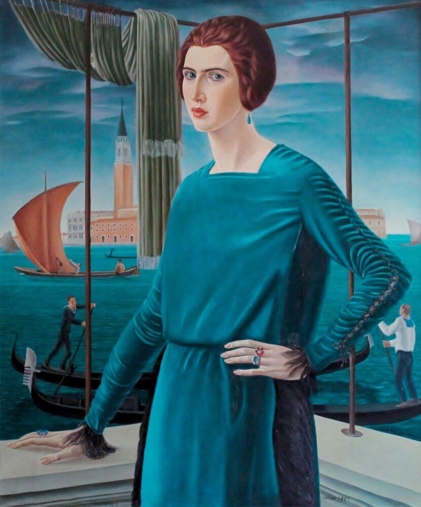 Ubaldo Oppi, Ritratto della moglie sullo sfondo di Venezia, 1921, olio su tela, 120 x 100 cm Mart, Collezione privata