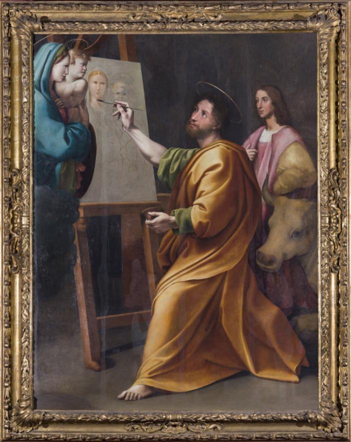 Raffaello (tradizionalmente attribuito), San Luca dipinge la Vergine, XVI sec. , olio su tavola trasportato su tela, Roma Accademia Nazionale di San Luca (2)