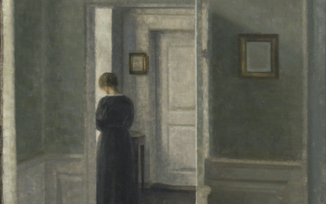 TEFAF Online Vilhelm Hammershøi, Interior with a Woman Standing, 1913. Courtesy Di Donna Galleries