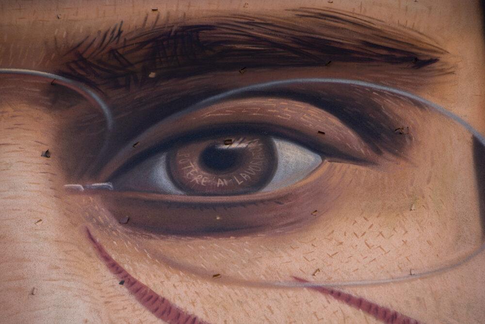 Particolare occhio murales Antonio Gramsci
