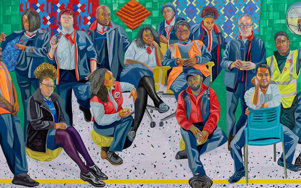Aliza Nisenbaum. London Underground: Brixton Station and Victoria Line Staff, 2019. Oil on polyester, 74 3/4 x 142 1/8 in (190 x 361 cm). Courtesy the artist and Art on the Underground, London; Anton Kern Gallery, New York / © Aliza Nisenbaum