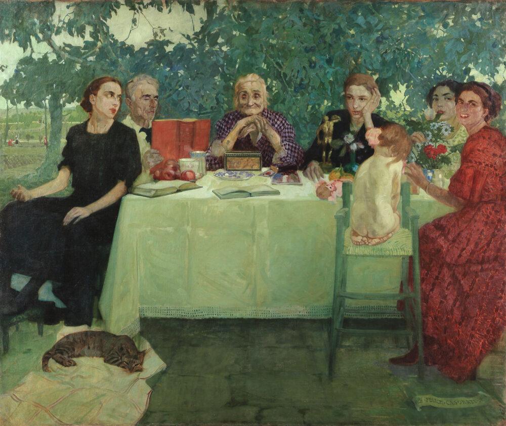 Felice Casorati Persone, 1910 olio su tela, 150 x 177 cm Collezione privata. Courtesy Enrico Gallerie d'arte