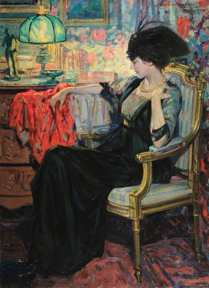 Ulisse Caputo Figura di donna seduta , 1918 olio su tela, 100 x 73,50 cm Collezione privata. Courtesy Enrico Gallerie d'arte, Foto Mauro Ranzani