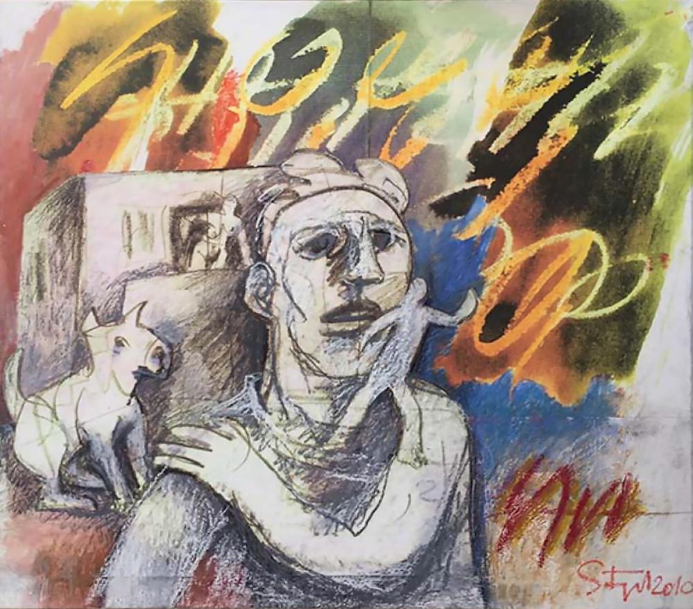 Karl Stengel, tecnica mista su carta intelata 130x140, 2010