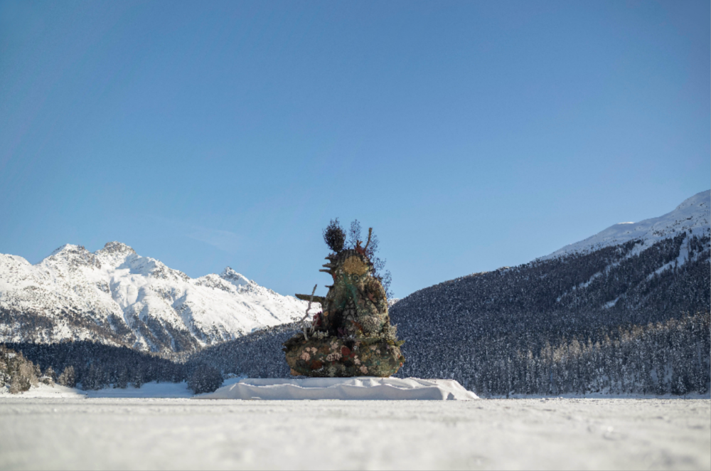 Damien Hirst's The Monk (2014) installed on Lake St. Moritz Photo: Felix Friedmann. © Damien Hirst and Science Ltd. All rights reserved, DACS 2020