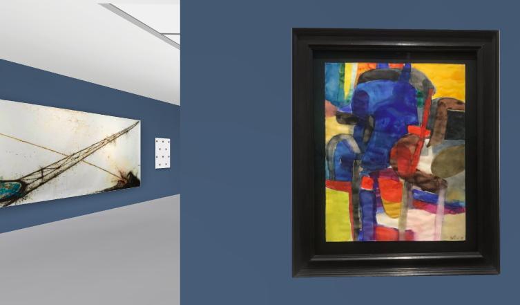 In primo piano un Maurice Estève (Wienerrolther & Kohlbacher Gallery) a sinistra un grande Gilberto Zorio (200x580 cm) della Gallerie Pietro Spartà