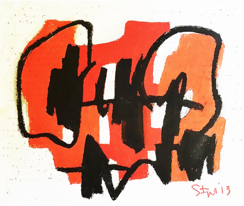 Karl Stengel, Senza Titolo, pastelli e carboncino su carta, 90x107, 2013