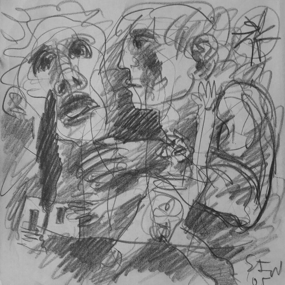 Karl Stengel,Senza Titolo, 55x58 cm carboncino su carta, 2005