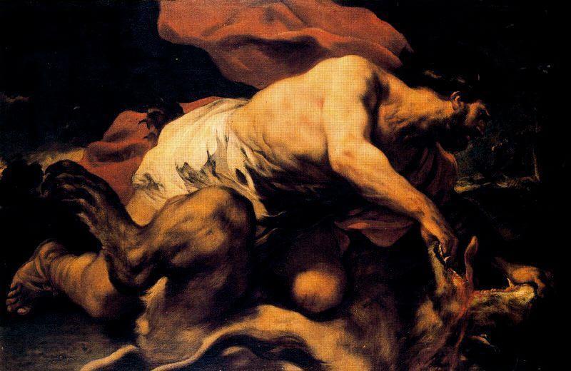 Luca Giordano (1634-1705) Sansone e il leone 1694-1696, Olio su tela 95 x 142 cm, Madrid, Museo del Prado