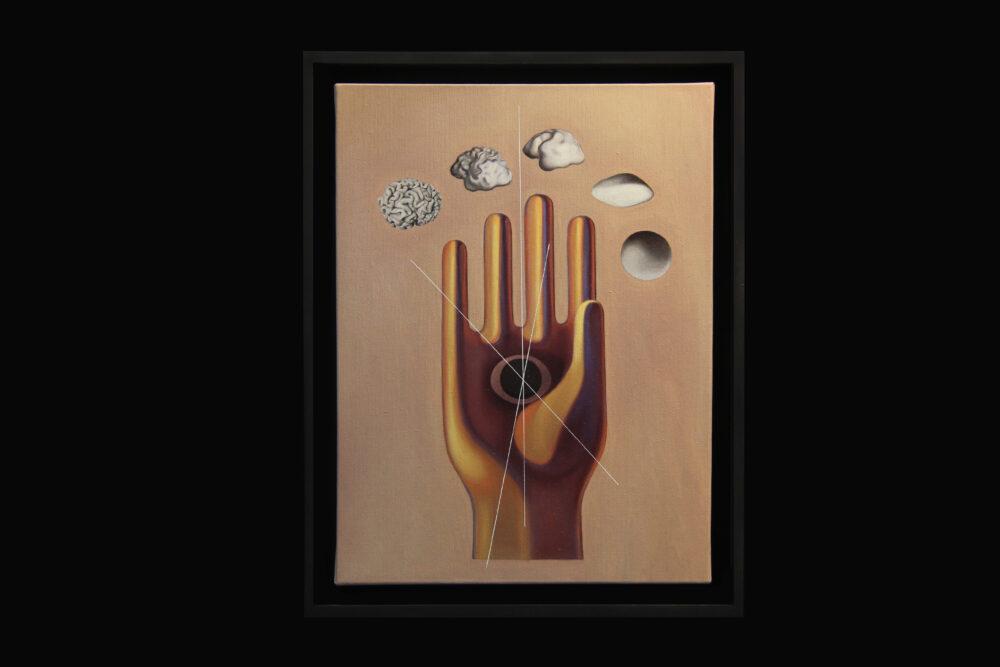 Manifold (2.600cm2), 2019, oil and canvas 44x39x9cm, Courtesy Giulio Frigo