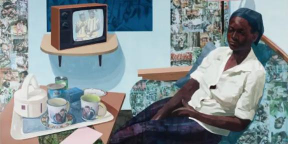 Njideka Akunyili Crosby, Super Blue Omo, 2016
