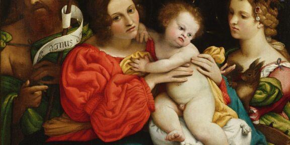 Madonna con il Bambino e i santi Giovanni Battista e Caterina d'Alessandria, 1522 olio su tela, 74 x 68 cm, firmato in basso a destra: Laurentius Lotus 1522 collezione privata