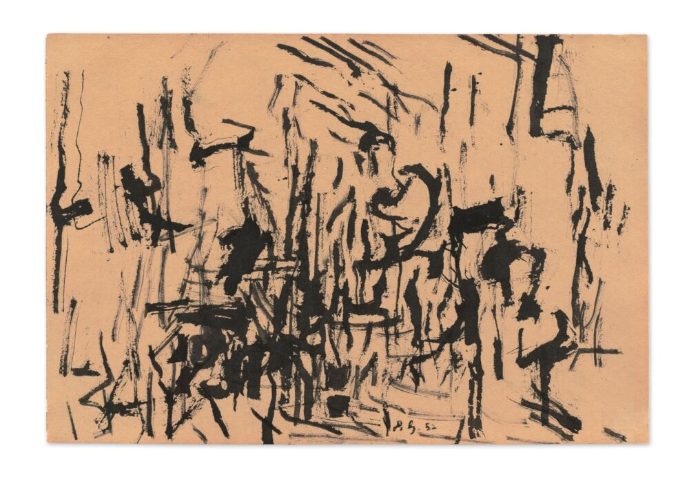 Philip Guston October Fall 1952 Quill and ink on paper 30.5 x 43.2 cm / 12 x 17 in Photo: Timothy Doyon