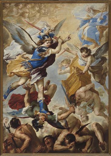 Luca Giordano (1634-1705) San Michele Arcangelo sconfigli angeli ribelli Siglato: LG 1657 Olio su tela 375 x 280 cm Napoli, parrocchia della SS. Ascensione a Chiaia