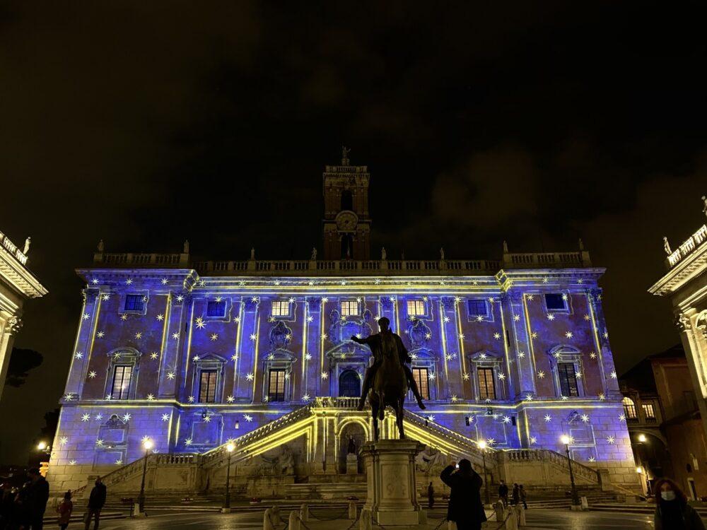 Luci di Natale Roma piazza Canoudigkui