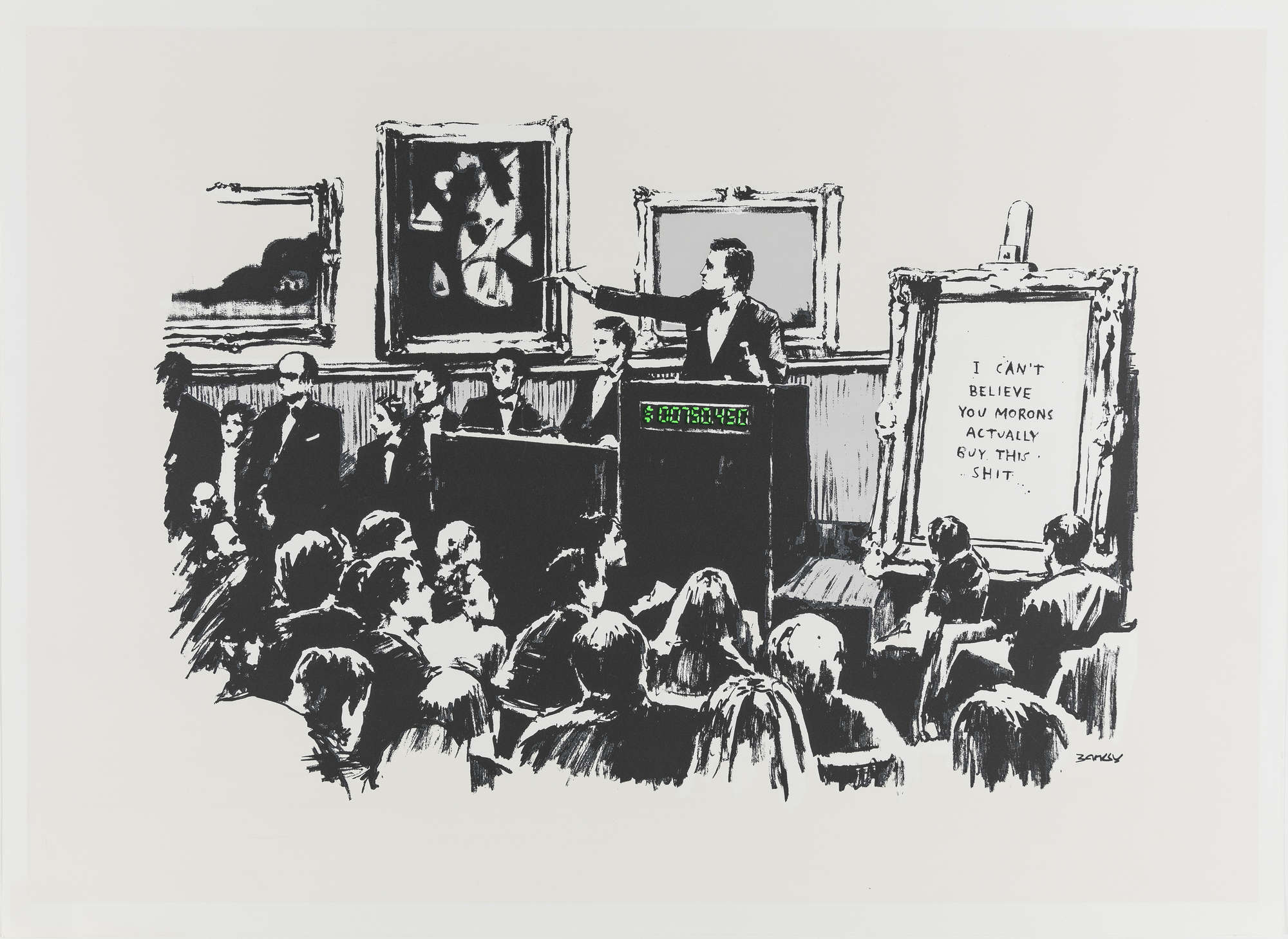"""Banksy: in asta una versione di """"Morons"""" appartenuta all'auctioneer rappresentato nella serigrafia"""